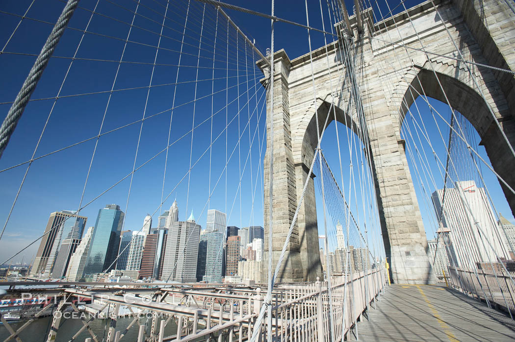 Brooklyn Bridge cables and tower. Brooklyn Bridge, New York City, New York, USA, natural history stock photograph, photo id 11078