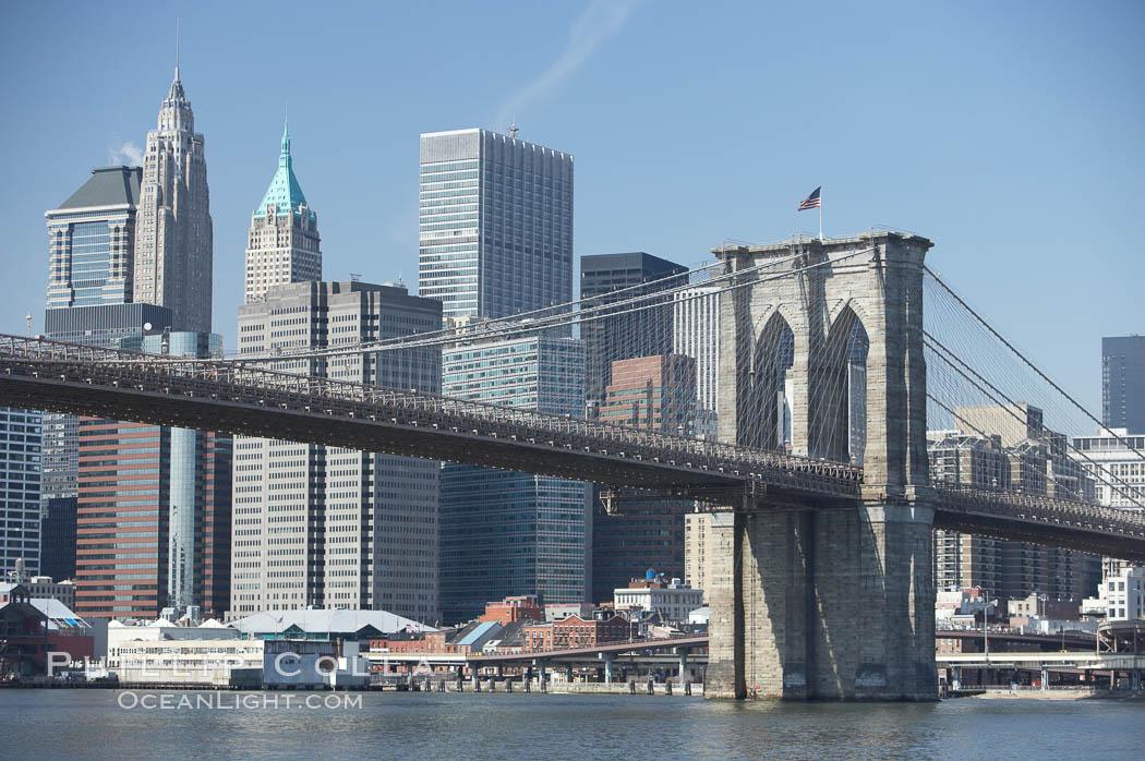 Image 11118, Lower Manhattan and Brooklyn Bridge, viewed from the East River. Manhattan, New York City, New York, USA