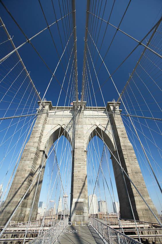 Brooklyn Bridge cables and tower. Brooklyn Bridge, New York City, New York, USA, natural history stock photograph, photo id 11072