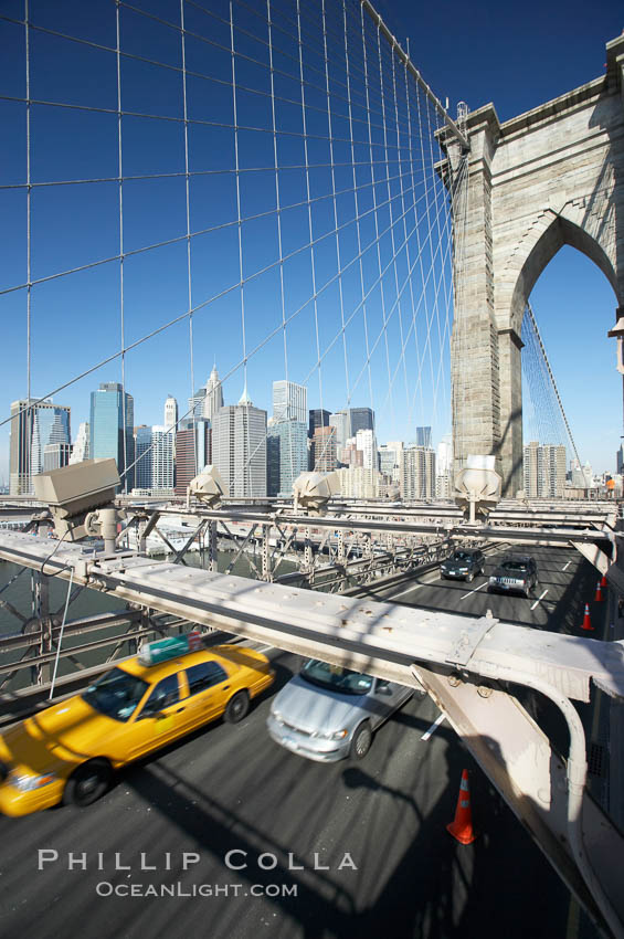 Brooklyn Bridge cables and tower. Brooklyn Bridge, New York City, New York, USA, natural history stock photograph, photo id 11076