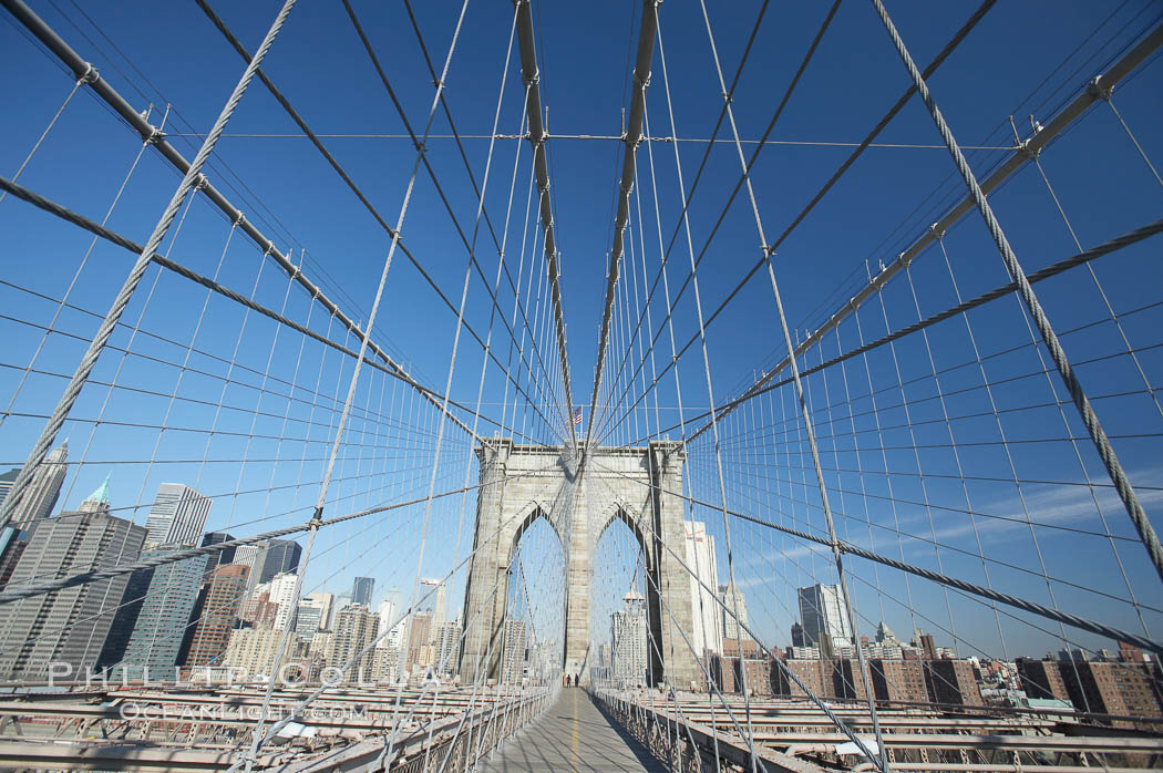 Brooklyn Bridge cables and tower. Brooklyn Bridge, New York City, New York, USA, natural history stock photograph, photo id 11075