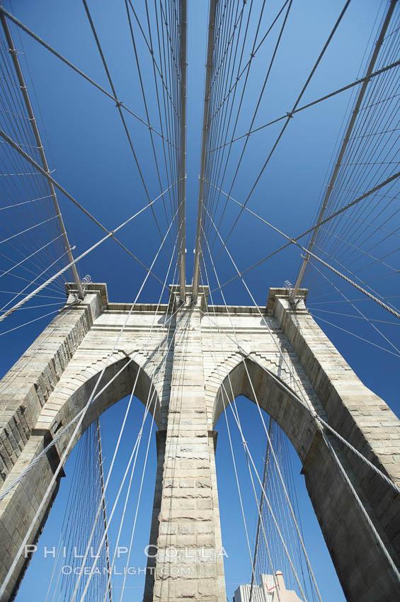 Brooklyn Bridge cables and tower. Brooklyn Bridge, New York City, New York, USA, natural history stock photograph, photo id 11079