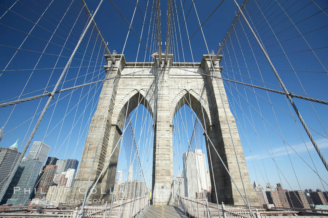 Brooklyn Bridge cables and tower. Brooklyn Bridge, New York City, New York, USA, natural history stock photograph, photo id 11077