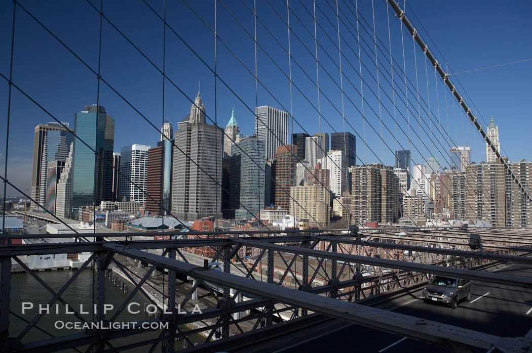 Lower Manhattan skyline viewed from the Brooklyn Bridge. Brooklyn Bridge, New York City, New York, USA, natural history stock photograph, photo id 11093