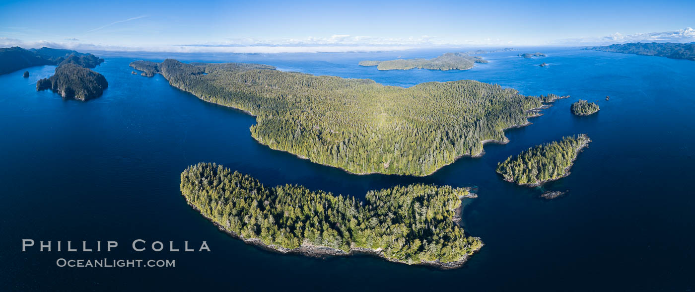 Browning Pass and Balaklava Island, location of the best cold water diving in the world, aerial panoramic photo. British Columbia, Canada, natural history stock photograph, photo id 34471