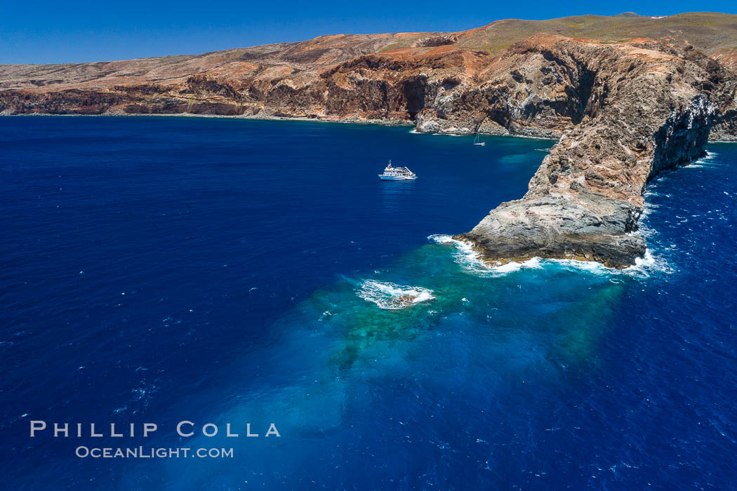 Cabo Pearce on Socorro Island, aerial photo, Revillagigedos Islands, Mexico. Socorro Island (Islas Revillagigedos), Baja California, natural history stock photograph, photo id 32909
