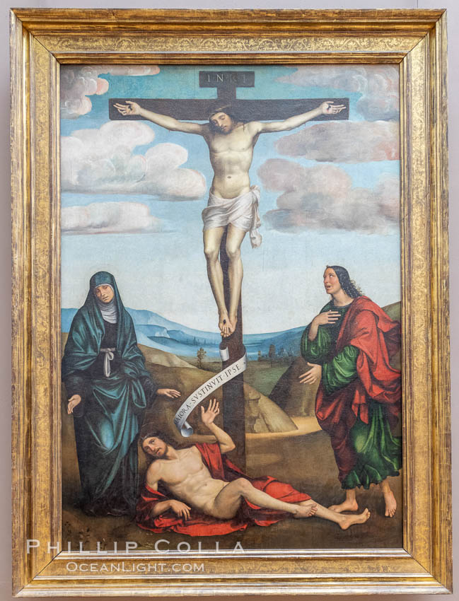 Calvary with St. Job at the Foot of the Cross, 1514, Francesco Francia, Mus�e du Louvre, Paris. Musee du Louvre, natural history stock photograph, photo id 35647