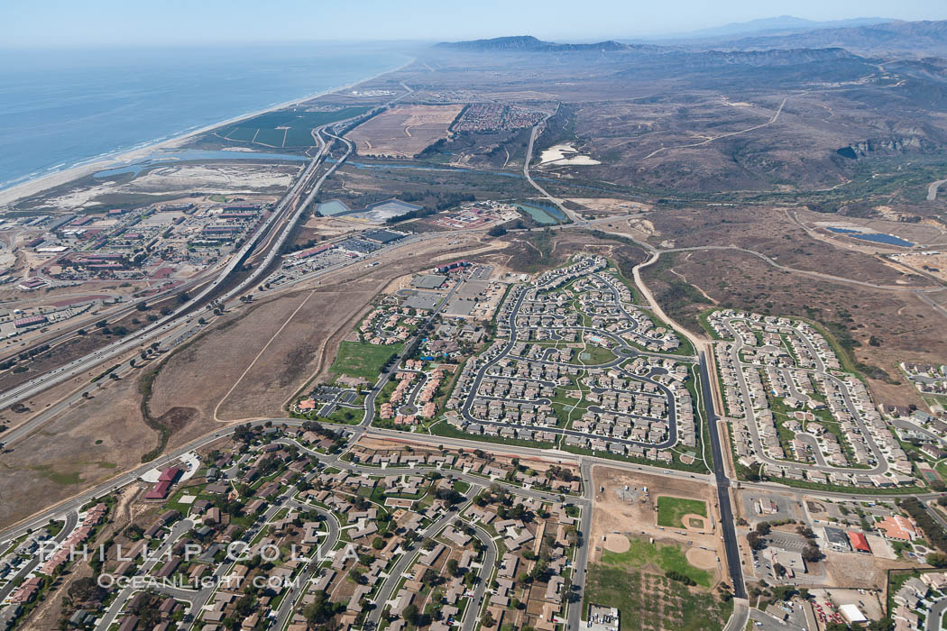 Camp Pendleton, viewed toward the north, including Pacific ocean and Interstate 5 freeway. Marine Corps Base Camp Pendleton. California, USA, natural history stock photograph, photo id 25995