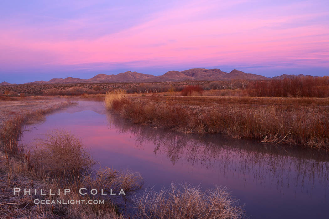 Sunrise along one of the canals lining the many pools and empoundments at Bosque del Apache National Wildlife Refuge. Socorro, New Mexico, USA, natural history stock photograph, photo id 21851