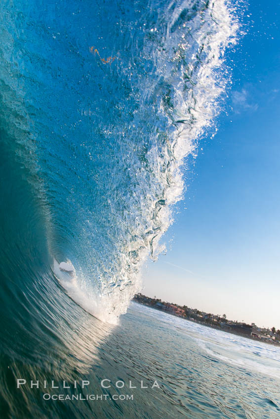 Cardiff morning surf, breaking wave. Cardiff by the Sea, California, USA, natural history stock photograph, photo id 23293