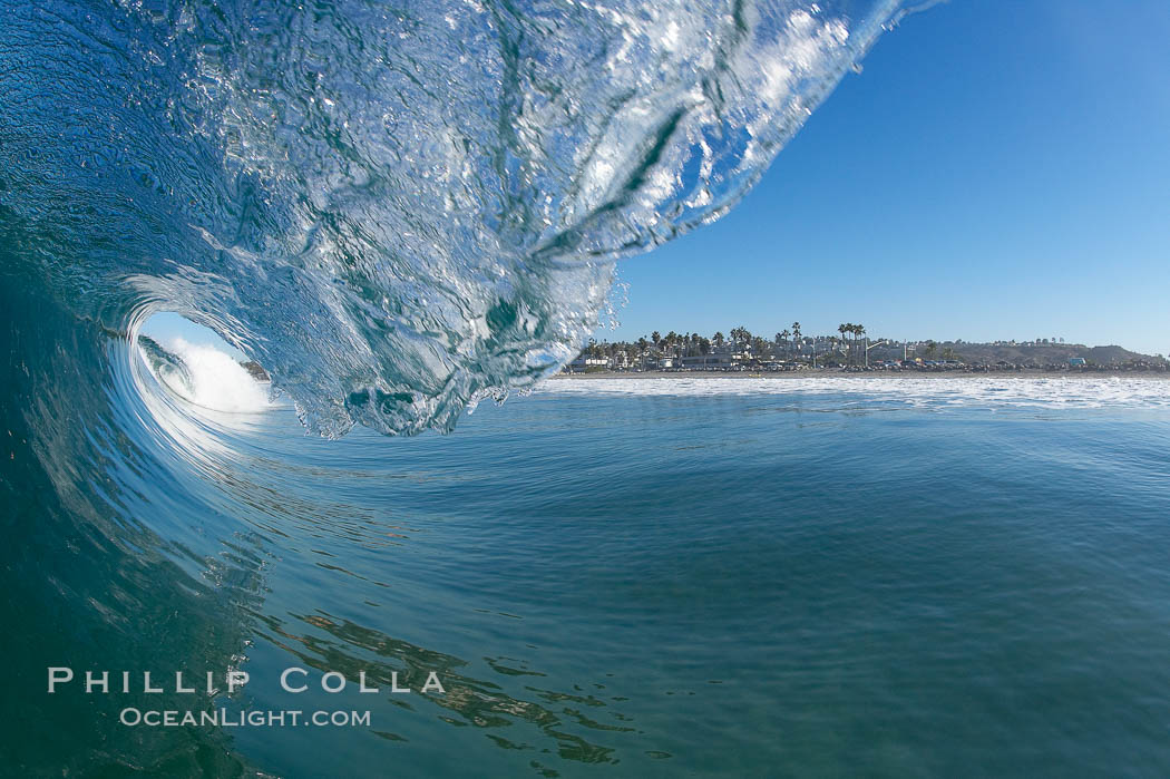 Cardiff surf, breaking wave, morning. Cardiff by the Sea, California, USA, natural history stock photograph, photo id 17660