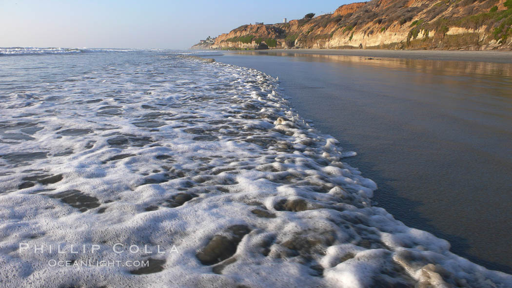 Ocean water washes over a flat sand beach, sandstone bluffs rise in the background, sunset. Carlsbad, California, USA, natural history stock photograph, photo id 19806