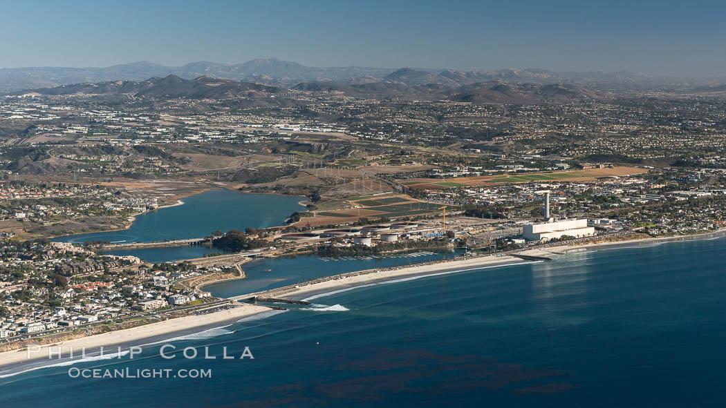 Aqua Hedionda Lagoon and Encina Power Station, Warm Water Jetties beach, Carlsbad, California, aerial photo. Carlsbad, California, USA, natural history stock photograph, photo id 29070