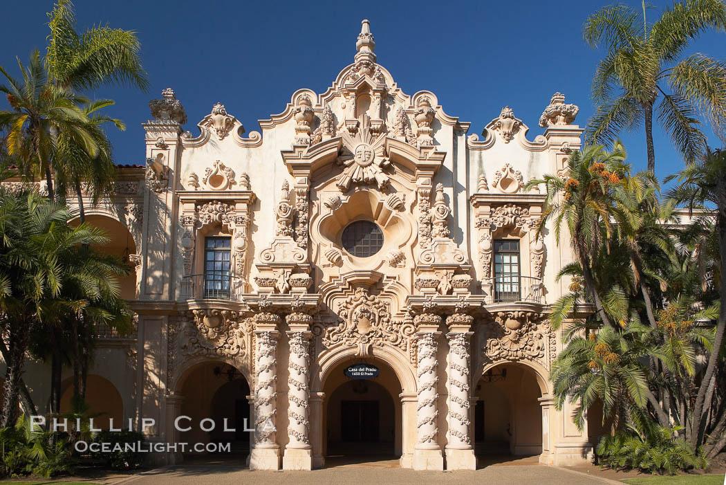Casa del Prado, South Facade. Balboa Park, San Diego, California, USA, natural history stock photograph, photo id 14618