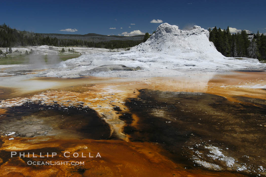 Sinter cone of Castle Geyser, estimated to be 5,000 - 15,000 years old.  Tortoise Shell Spring in foreground. Upper Geyser Basin. Upper Geyser Basin, Yellowstone National Park, Wyoming, USA, natural history stock photograph, photo id 07212