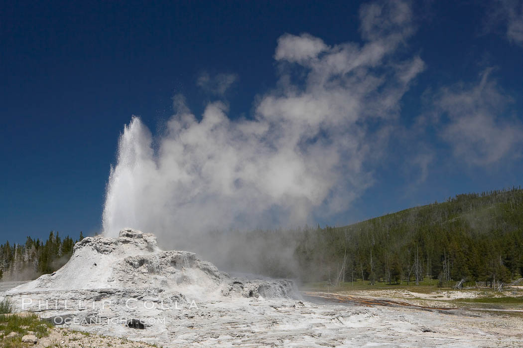 Castle Geyser erupts, reaching 60 to 90 feet in height and lasting 20 minutes.  While Castle Geyser has a 12 foot sinter cone that took 5,000 to 15,000 years to form, it is in fact situated atop geyserite terraces that themselves may have taken 200,000 years to form, making it likely the oldest active geyser in the park. Upper Geyser Basin. Upper Geyser Basin, Yellowstone National Park, Wyoming, USA, natural history stock photograph, photo id 13441