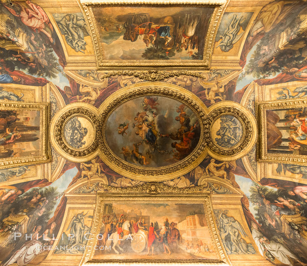 Ceiling art detail. Chateau de Versailles, Paris, France, natural history stock photograph, photo id 28070
