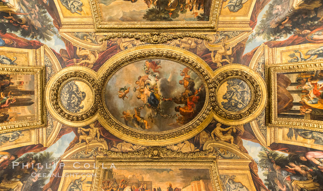 Ceiling art detail. Chateau de Versailles, Paris, France, natural history stock photograph, photo id 28071