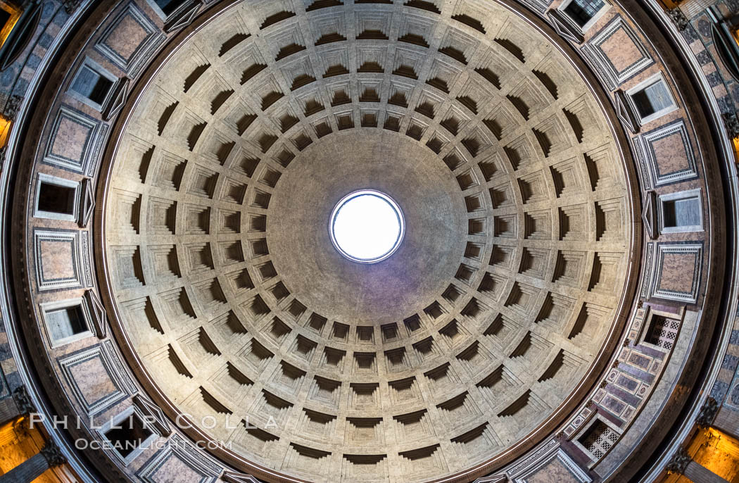 The Ceiling of the Pantheon, Rome. Italy, natural history stock photograph, photo id 35548