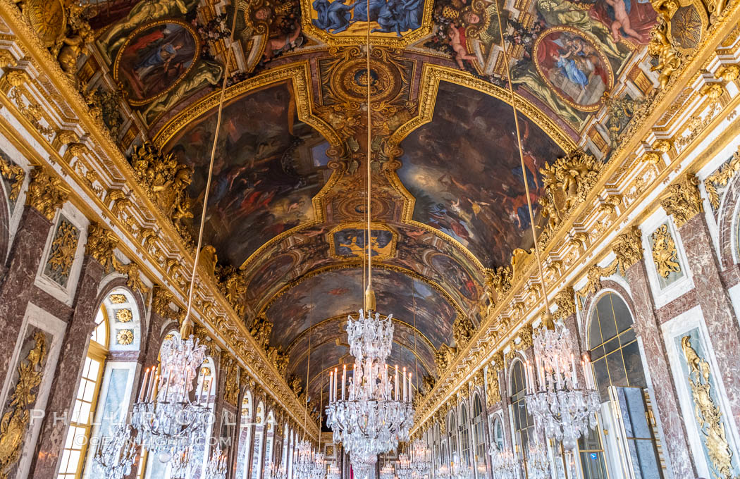 The Hall of Mirrors, or Galerie des Glaces, is the central gallery of the Palace of Versailles and is renowned as being one of the most famous rooms in the world. Chateau de Versailles, Paris, France, natural history stock photograph, photo id 35668