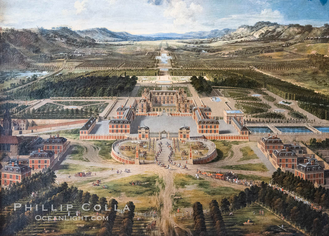 Perspective view of the Chateau, Gardens and Park of Versailles seen from the Avenue de Paris, 1668 (oil on canvas), Patel, Pierre (1605-76), Chateau de Versailles, Paris. Chateau de Versailles, Paris, France, natural history stock photograph, photo id 35675
