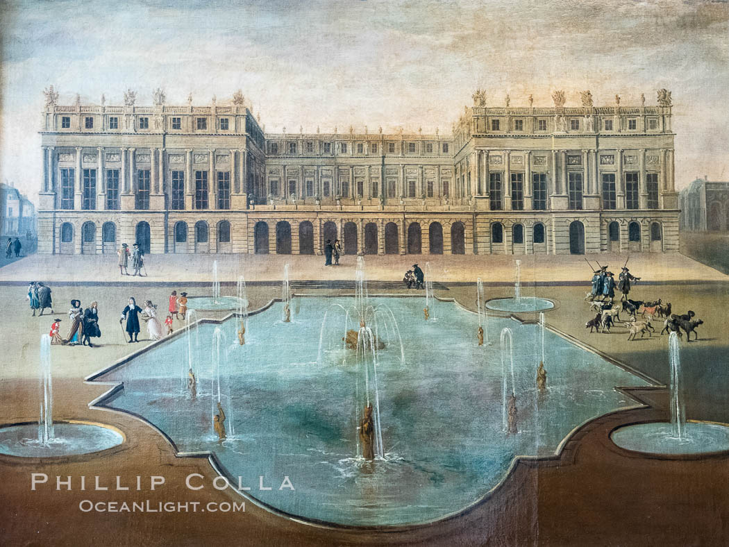 Chateau Versailles viewed from the gardens, 1675, France 17th Century, Chateau de Versailles, Paris. Chateau de Versailles, Paris, France, natural history stock photograph, photo id 35674