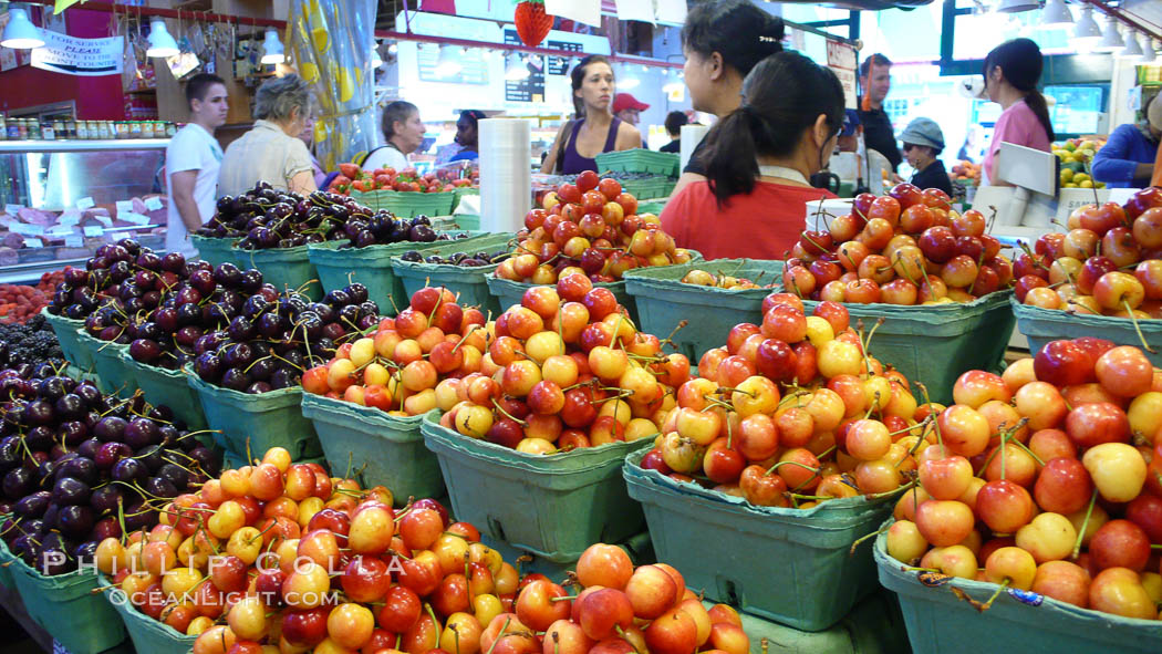 Cherries for sale at the Public Market, Granville Island, Vancouver. British Columbia, Canada, natural history stock photograph, photo id 21204