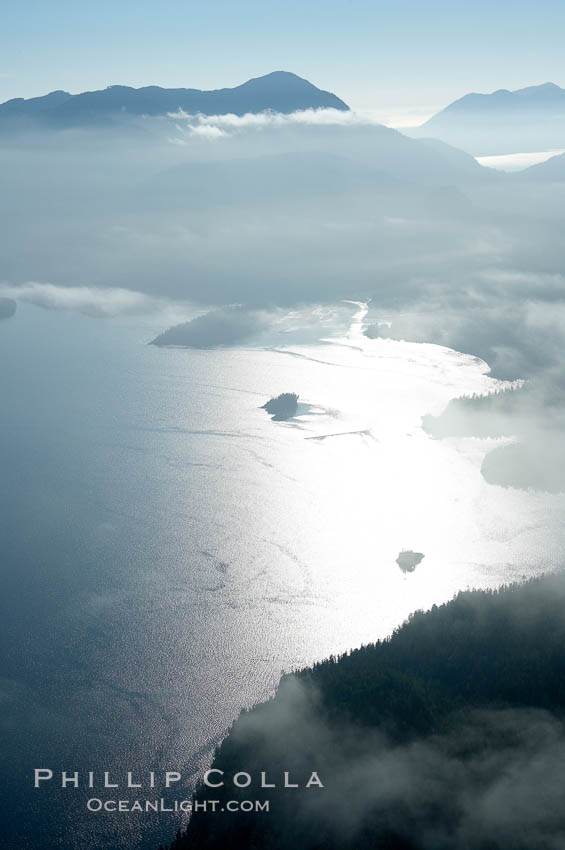 Clayoquot Sound, on the west coast of Vancouver Island, aerial photo. Tofino, British Columbia, Canada, natural history stock photograph, photo id 21094