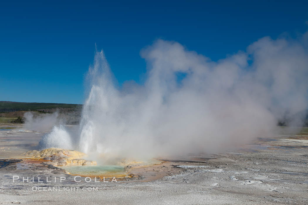 Clepsydra Geyser, a geyser which is almost continually erupting. A member of the Fountain Group of geothermal features. Lower Geyser Basin, Yellowstone National Park, Wyoming, USA, natural history stock photograph, photo id 26947