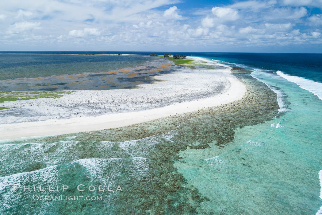 Clipperton Island aerial photo. Clipperton Island, a minor territory of France also known as Ile de la Passion, is a spectacular coral atoll in the eastern Pacific. By permit HC / 1485 / CAB (France). Clipperton Island, France, natural history stock photograph, photo id 32833
