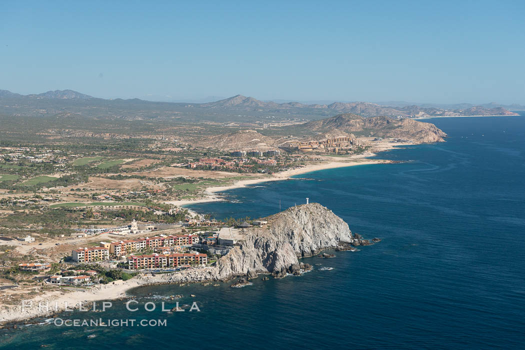 Hacienda Encantada Resort and Spa, Punta Ballena and Faro Cabesa Ballena. Residential and resort development along the coast near Cabo San Lucas, Mexico. Baja California, natural history stock photograph, photo id 28904