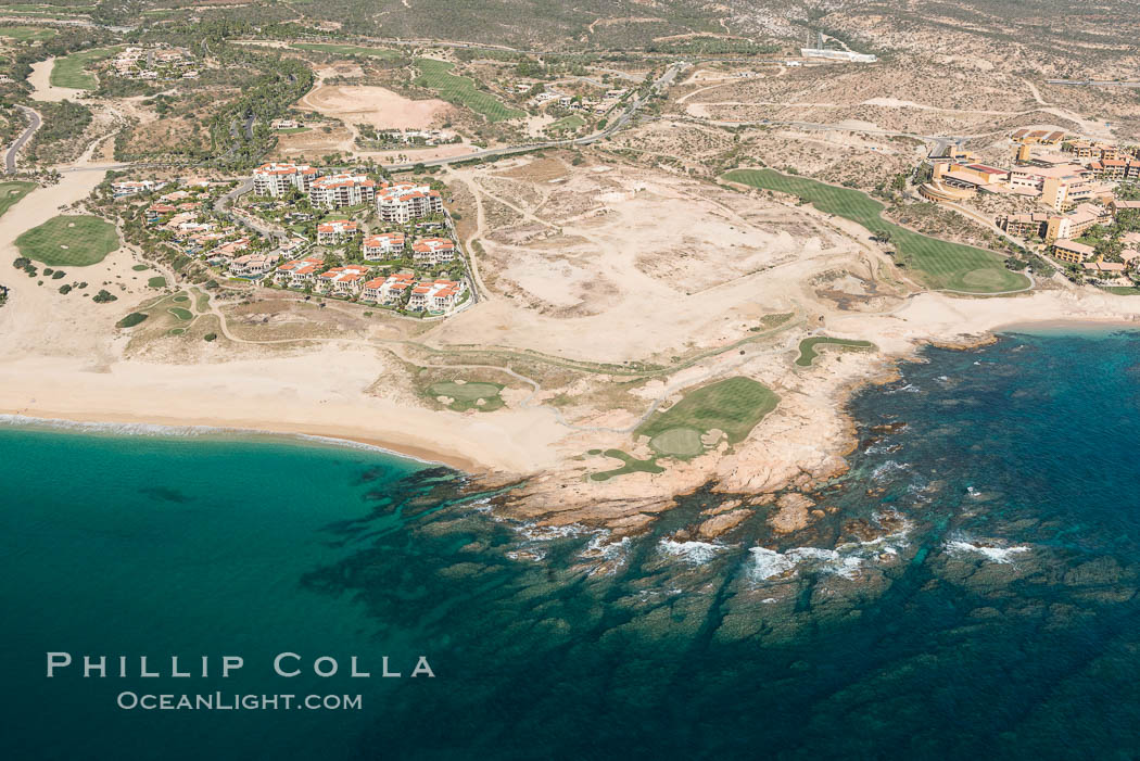 Underwater reef system along the coastline, sand beaches and residential and resort development along the coast near Cabo San Lucas, Mexico. Cabo San Lucas, Baja California, Mexico, natural history stock photograph, photo id 28927