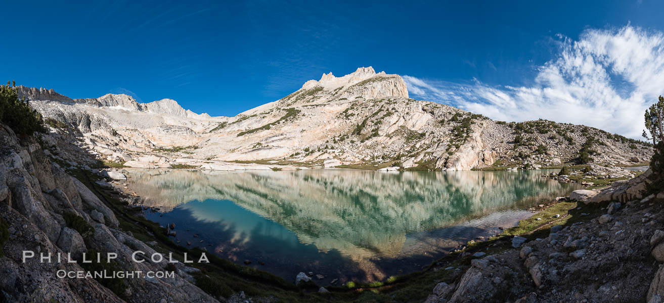 North Peak (12242'), Conness Lake and green glacial meltwater, Hoover Wilderness. Conness Lakes Basin, California, USA, natural history stock photograph, photo id 31059