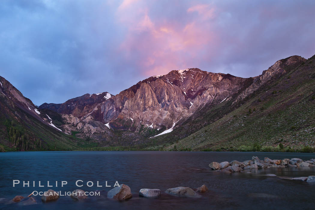 Sunrise and storm clouds over Convict Lake and Laurel Mountain, Eastern Sierra Nevada. California, USA, natural history stock photograph, photo id 26858