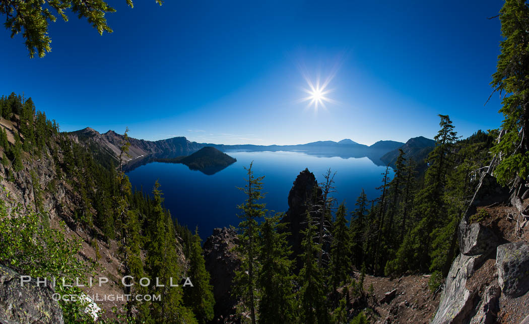Crater Lake panoramic photograph.  Panorama picture of Crater Lake National Park. Oregon, USA, natural history stock photograph, photo id 28648