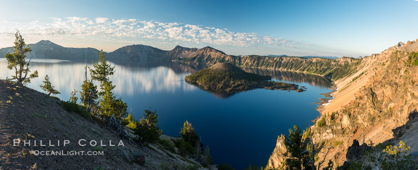 Image 28663, Crater Lake panoramic photograph.  Panorama picture of Crater Lake National Park. Oregon, USA, Phillip Colla, all rights reserved worldwide.   Keywords: Crater Lake:Crater Lake National Park:National Park:Oregon:crater:lake:landscape:national parks:nature:outdoors:outside:panorama:panoramic photo:scene:scenery:scenic:usa.