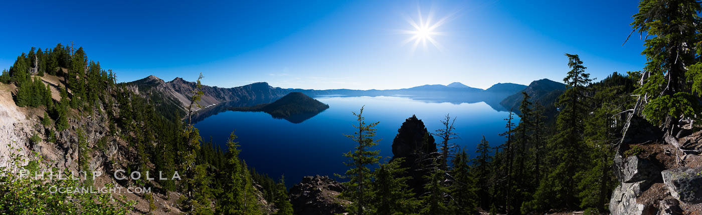 Panoramic photo of Crater Lake National Park. Crater Lake National Park, Oregon, USA, natural history stock photograph, photo id 28675