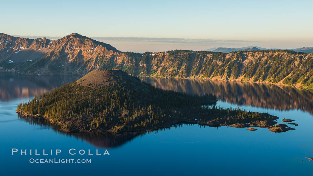 Crater Lake and Wizard Island at sunrise. Crater Lake National Park, Oregon, USA, natural history stock photograph, photo id 28670