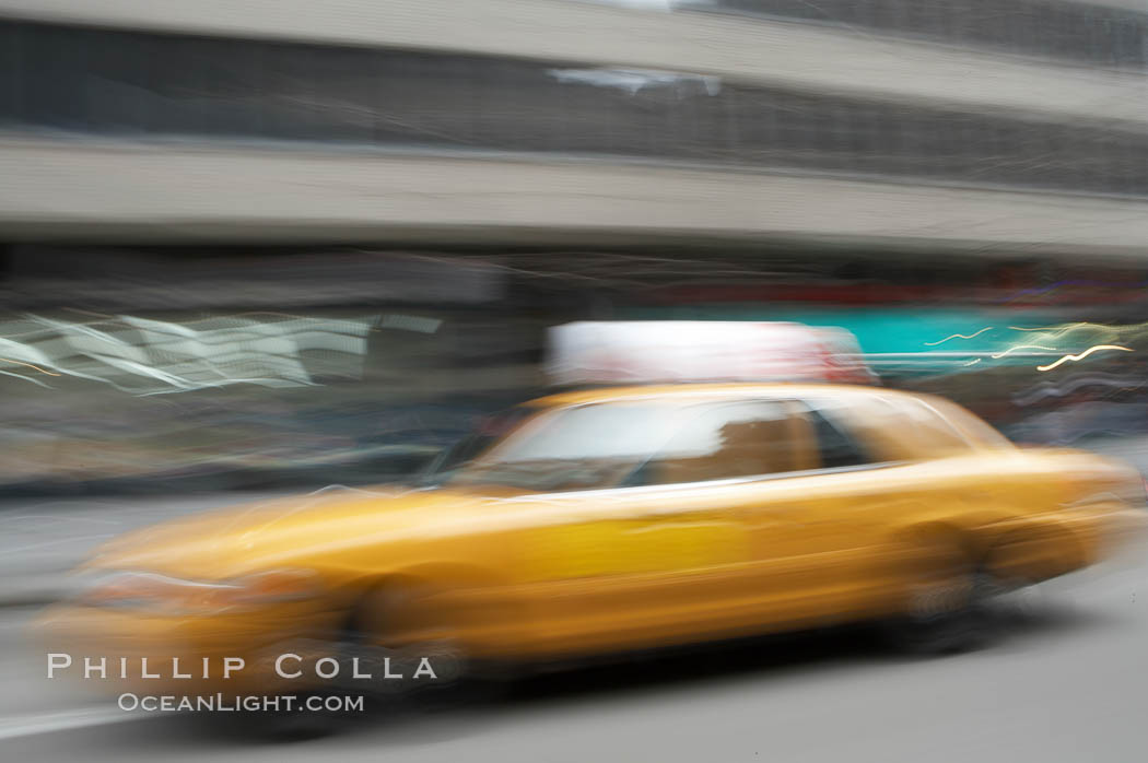 Crazy taxi ride through the streets of New York City. Manhattan, New York City, New York, USA, natural history stock photograph, photo id 11190