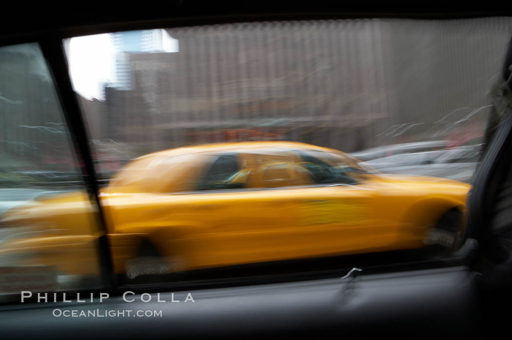 Crazy taxi ride through the streets of New York City. Manhattan, USA, natural history stock photograph, photo id 11194
