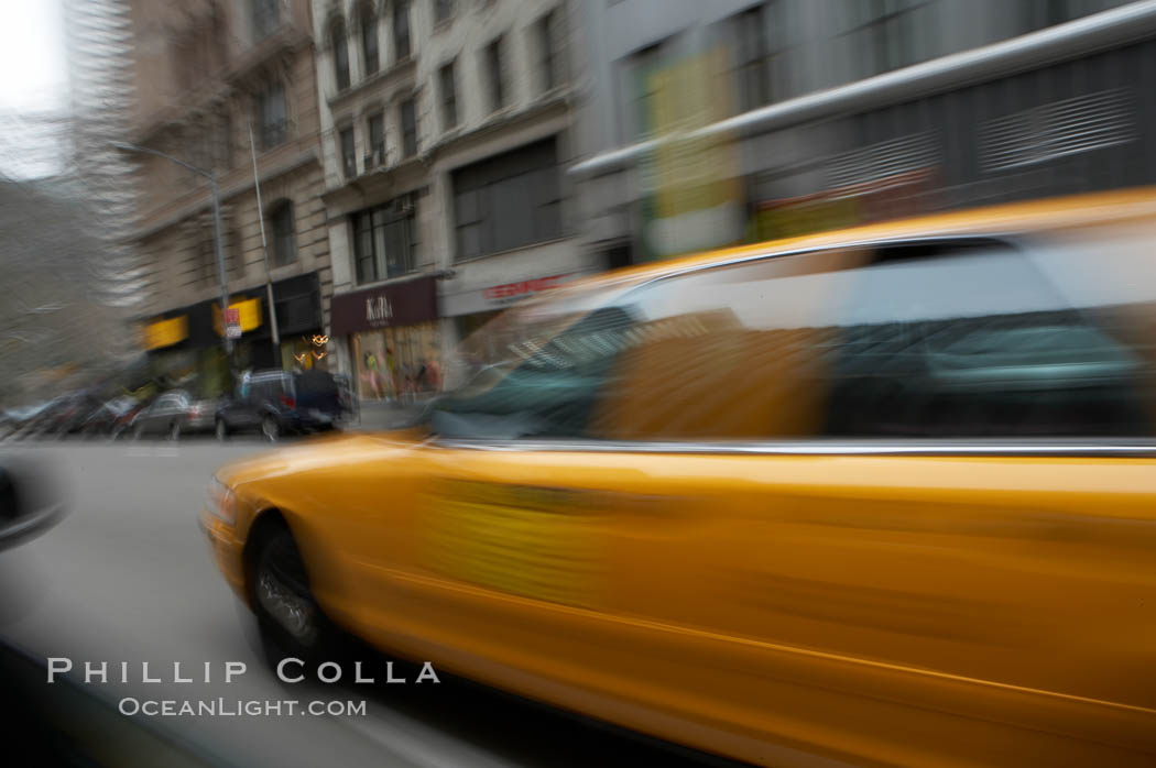 Crazy taxi ride through the streets of New York City. Manhattan, New York City, New York, USA, natural history stock photograph, photo id 11192