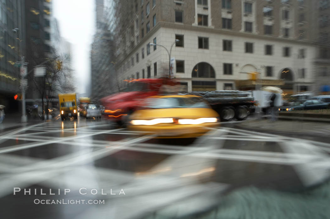 Crazy taxi ride through the streets of New York City. Manhattan, New York City, New York, USA, natural history stock photograph, photo id 11196