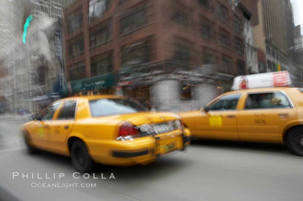 Crazy taxi ride through the streets of New York City. Manhattan, New York City, New York, USA, natural history stock photograph, photo id 11191