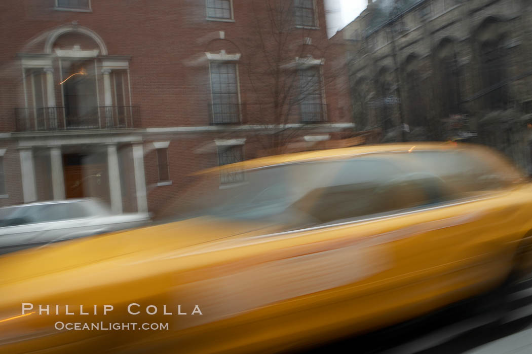 Crazy taxi ride through the streets of New York City. Manhattan, New York City, New York, USA, natural history stock photograph, photo id 11197