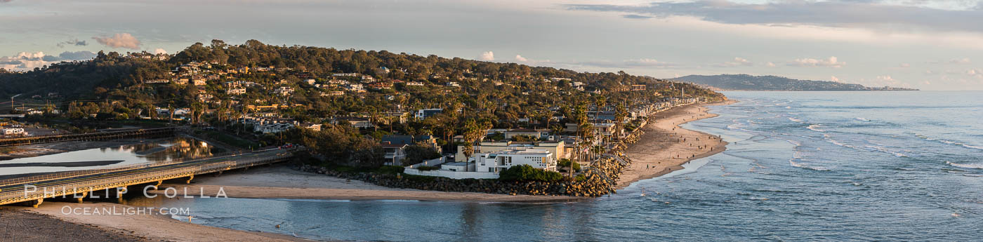 Del Mar beach and homes at sunset, dog beach and San Dieguito lagoon inlet, panoramic photo. Del Mar, California, USA, natural history stock photograph, photo id 30492