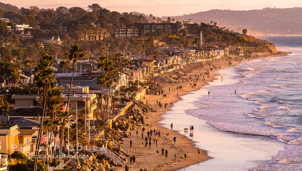 Del Mar Beach at Sunset, northern San Diego County. California, USA, natural history stock photograph, photo id 35067