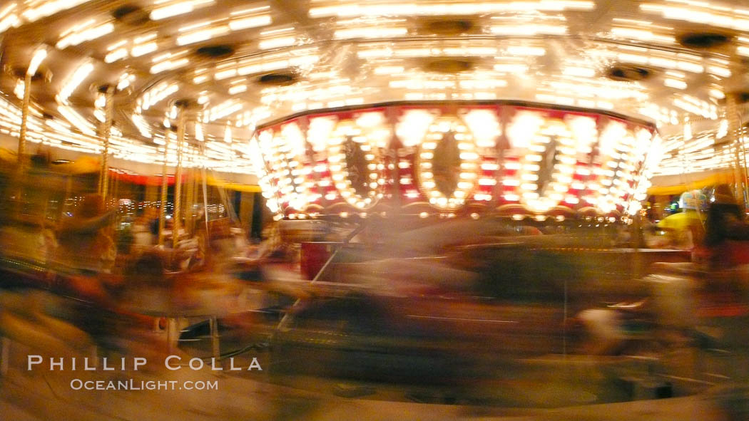 Del Mar Fair rides at night, blurring due to long exposure. Del Mar Fair, Del Mar, California, USA, natural history stock photograph, photo id 20877