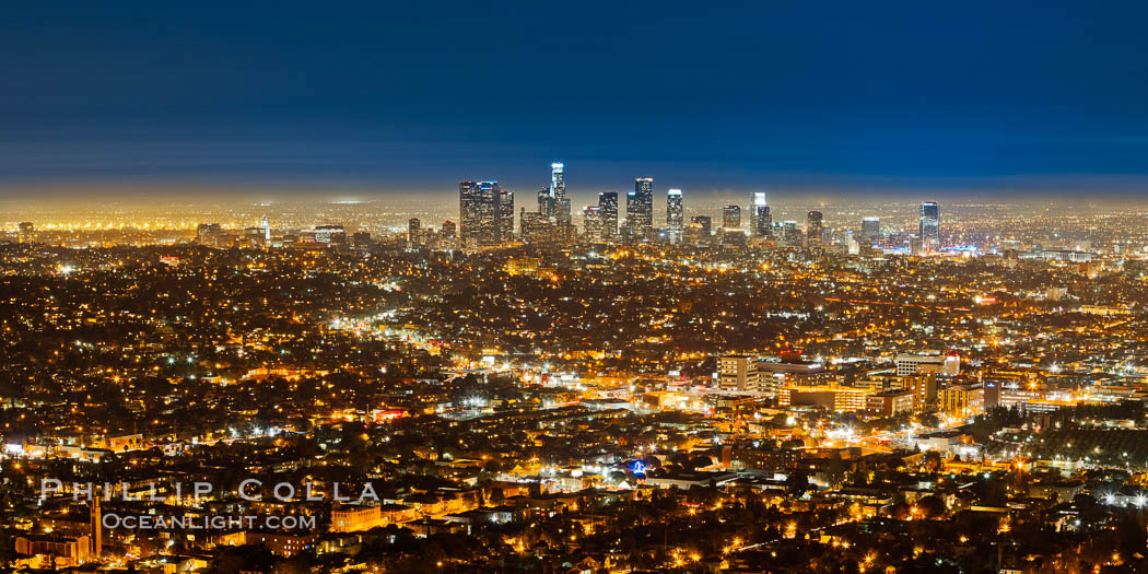 Downtown Los Angeles at night, street lights, buildings light up the night. California, USA, natural history stock photograph, photo id 27724
