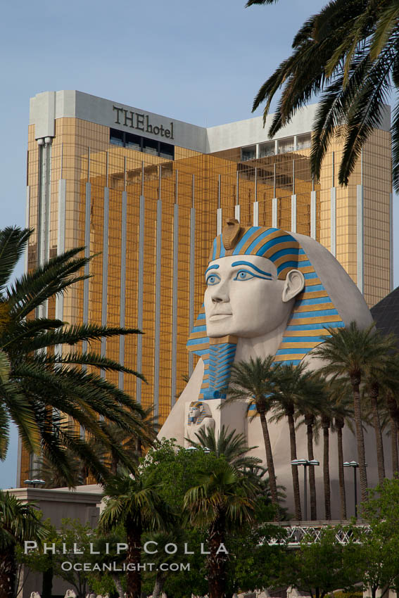 Egyptian Sphinx, replica, front entrance of the Luxor Hotel in Las Vegas, with theHotel (Mandalay Bay hotel) in the background. Nevada, USA, natural history stock photograph, photo id 25218