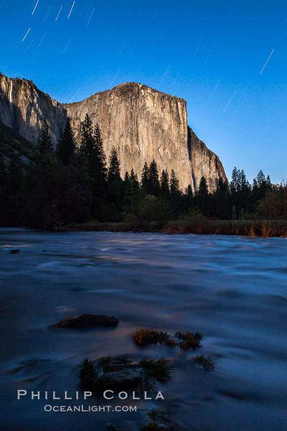 El Capitan and star trails, at night, illuminated by the light of the full moon. Yosemite National Park, California, USA, natural history stock photograph, photo id 27756